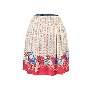 CAbi Reversible Red blue floral print skirt - sm